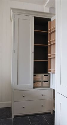 Luxury Suffolk Larder hand made in solid poplar wood with accents of Ash hand