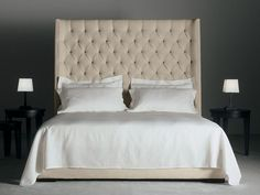 Upholstered bed with high headboard THURMAN Thurman Collection by Meridiani