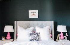 Kaczmarski Chicago Apartment Tour // bedroom // Adler pillow // & Lily white duvet and sheets // Home mercury glass // Style Lighting pink lamps // grey tufted bed and headboard // elm nightstand // photography by Stoffer Photography Pink Bedroom For Girls, Gray Bedroom, Home Bedroom, Bedroom Wall, Bedroom Decor, Bedroom Ideas, Master Bedroom, Stylish Bedroom, Design Bedroom