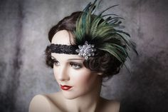Flapper Headband-Feather Headband-1920's-Gatsby by Petalprops