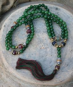 Faceted Green Jade Mala Necklace - Made by look4treasures