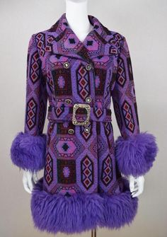 Vtg 1960's AzTeC Carpet TaPeStrY Purple SHEARLING TriMMeD HiPPiE BoHo Coat M