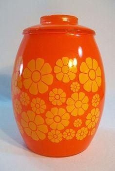 Vintage Retro Bartlett Collins Daisy Flower Yellow Orange Art Glass Cookie Jar