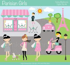 Digital Clipart - Parisian Girls for Scrapbooking, Invitations, Paper crafts, Cards Making, commercial use INSTANT DOWNLOAD printable