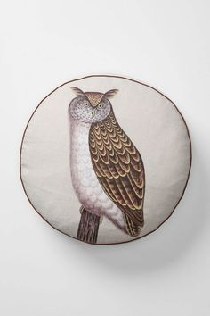 Handpainted owl pillow for me to spill food on. I want it!!