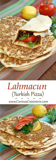 Crispy, flatbread Turkish pizza, Lahmacun, is fun to eat and a great recipe for a party. #SundaySupper | Curious Cuisiniere