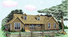 The rustic exterior of this country-style home is accented by its gabled roof, decorative dormers, log cabin siding and covered porch. Hill Country Homes, Country House Plans, Country Style Homes, House Plans One Story, New House Plans, House Floor Plans, Rustic Exterior, Modern Exterior, Log Cabin Siding
