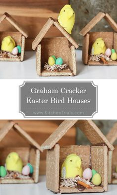 Graham Cracker Easter Birdhouses The most adorable Easter craft that you're going to eat! Bird houses made out of graham crackers and chocolate. The best part though – they only take 10 minutes to make! The kids loved doing this last year! Easter Dinner, Easter Party, Hoppy Easter, Easter Eggs, Easter Food, Easter Decor, Easter Buffet, Easter Bunny, Easter Table