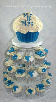 Royal Blue Wedding Cupcake Tower by The Clever Little Cupcake Company (Amanda), via Flickr