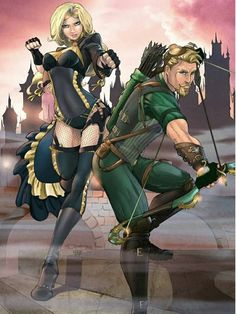 Black Canary and Green Arrow Steampunk Colors by - I like the idea of a green vest and their solution to hood or hat? Arrow Cw, Team Arrow, Dc Comics Art, Marvel Comics, Green Arow, Arrow Black Canary, Batman Wonder Woman, Green Vest, Dc Comic Books