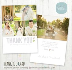 Wedding Thank You Card  Photoshop template by PaperLarkDesigns, $8.00 Save the Date