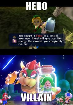 Finished Wind Waker HD, started Super Mario 3D World and noticed this Nintendo double standard