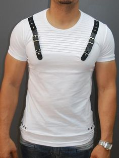 Men Faux Leather Buckle Ribbed T-shirt - White Mens Clothing Guide, Boys Shirts, Tee Shirts, Tee Design, Mens Tees, Workout Shirts, Shirt Designs, Men Casual, Mens Fashion