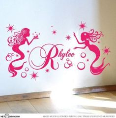 Amazon.com: Custom Name Mermaid Stars Bubbles Vinyl Sticker Wall Art Decal Nursery: Home & Kitchen