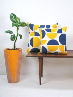 Info Specifications Scottish linen is hand screen printed by Tamasyn and her team in London. Each cushion is made up in the UK by a small British factory and stuffed using feather cushion pads. Decor, Soft Furnishings, Hand Screen Printed, Cushions, Decorative Items, Blue, Cushion Pads, Furnishings, Yellow
