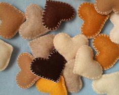 Handmade felt and burlap hearts set of 2 by LITTLEFACTORYCRAFTS