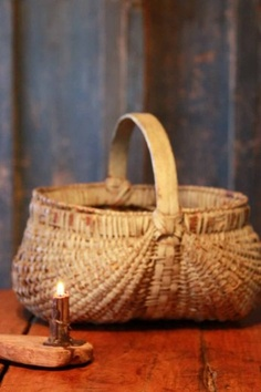 Old basket...with grubby candle.