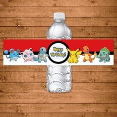 Pokemon Drink Labels Red & White Pokemon by NineLivesNotEnough Pokemon Happy Birthday, Ninja Turtle Birthday, Batman Birthday, 10th Birthday, Ninja Turtles, Birthday Cake, Fiesta Little Pony, My Little Pony Party, Curious George Party