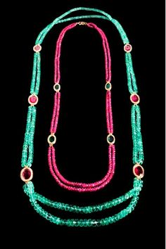 Jade Jagger emerald and ruby necklaces