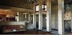Frank Lloyd Wright. California Textile Block Period. Charles Ennis House. Los Feliz neighborhood of Los Angeles.  1924