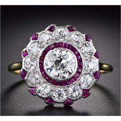 Deco, amethyst, diamond ring