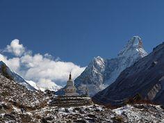 Tenzing Norgay Stupa with Ama Dablam - Nepal