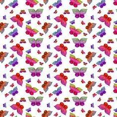 BUTTERFLIES EXOTIC JUNGLE ORCHID FLOWERS White Mini fabric by paysmage on Spoonflower - custom fabric