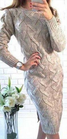 Interesting Unique Knit Design V-Neck Twist Wave Side Slit Long Solid Color Pullover Sweater Dress Work Fashion Ideas Sweater Outfits, Dress Outfits, Girl Outfits, Cable Knitting, Knitting Sweaters, Knit Fashion, Work Fashion, Fashion Ideas, Sammy Dress