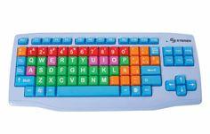 Teclado de computadora para niños con teclas más grandes y de color.