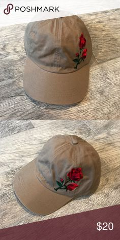 New- Nude Dad Cap w/Roses Nude- Adjustable- Dad Cap- Rose Embroidery boutique Other