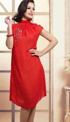 Fashionable Beautiful Red Bamberg Georgette Kurti