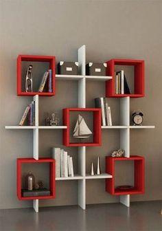 LARA Bookcase - White / Orange - Shelving Unit - Book Shelf for living room or home office in modern de…