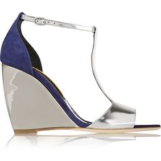 Rupert Sanderson June mirrored-leather and suede wedge sandals ($439) ❤ liked on Polyvore featuring shoes, sandals, metallic, wedge sandals, wedge heel sandals, ankle tie sandals, buckle sandals and metallic wedge sandals