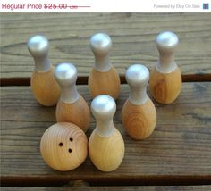 Wooden Bowling Game, Natural Wood Toy Tabletop Skittles