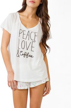 #Forever21                #love                     #Peace #Love #Coffee      Peace Love & Coffee PJ Set                                                    http://www.seapai.com/product.aspx?PID=105829