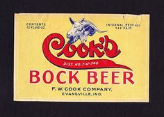 1930s U-Permit COOK'S BOCK BEER label from INDIANA !