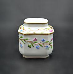 Herend Tea Caddy, Porcelain Tea Jar Tea Jar, Tea Caddy, Glass Paperweights, White Porcelain, Blue Flowers, Tea Pots, Handmade Items, Drink Cart, Tea Pot