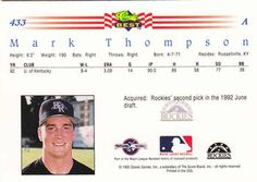 1992 Classic Best #433 Mark Thompson Back