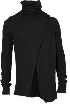 Lentrian - Overlapping front double layer cardigan | Black - orimono.eu