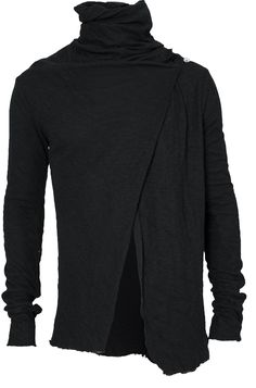 Lentrian - Overlapping front double layer cardigan | Black - orimono.eu