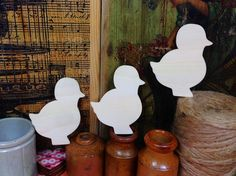 Chick 7.6cm x 3 - Chick wooden craft shapes x 3, Craftshapes