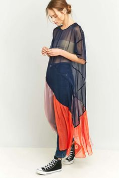 rework by Urban Outfitters Navy Chiffon Mesh Maxi Dress - Urban Outfitters