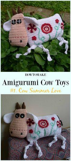 Crochet Cow Summer Love Amigurumi Free Pattern- #Amigurumi #Cow Toy Plushies Free Crochet Patterns
