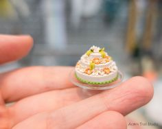Items similar to Miniature Cake. Dollhouse miniature food art in scale. Polymer Clay Cake, Polymer Resin, Polymer Clay Miniatures, Diy Dollhouse, Dollhouse Miniatures, Mini Foods, Miniature Food, Mini Cakes, Cake Cookies