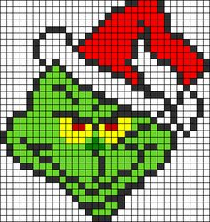Grinch Dr.Seuss Christmas perler bead pattern