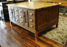 Vintage Oak School Cabinet / Counter with 24 Drawers Great Kitchen from breadandbutter on Ruby Lane
