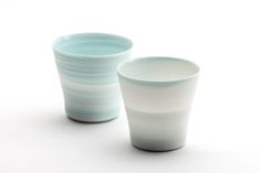 "Inhwa Lee ""Shadowed Color - Cups"" Porcelain, Pigment, Marbling, Wheel throwing, 1280℃ Oxidation Firing, Polishing"