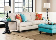Carmel Sofa $950 good cozy casual english arm shape, but visualize it in a dark barley taupe velveteen
