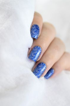 Marine Loves Polish: Nailstorming - Under the sea! - wave nail art - sea nail art - bundle monster bm-506