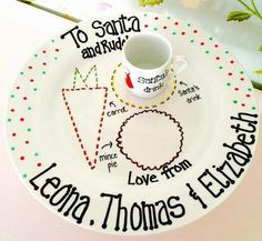 Spotty Personalised Christmas Eve Plate Set
